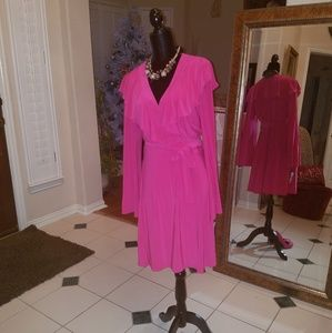 NWT! Ruffled V-Neck Wrap Dress with Bell Sleeves